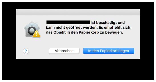 Anwendung ist beschädigt und kann nicht geöffnet werden.