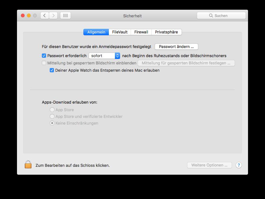 macOS Systemeinstellung