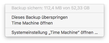 Time Machine sichert Backup